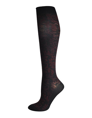 Silks Floral Scroll Graduated Compression Socks-BLACK/PURPLE-One Size