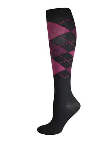 Silks Argyle Graduated Compression Socks-BLACK/PURPLE-One Size