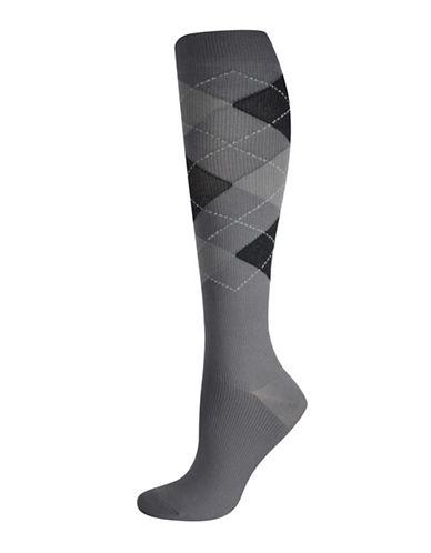 Silks Argyle Graduated Compression Socks-BLACK/GREY-One Size