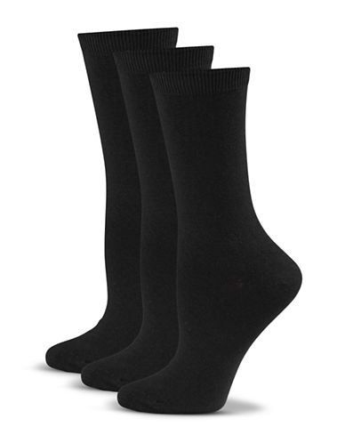 Jockey Three-Pack Crew Socks-BLACK-One Size