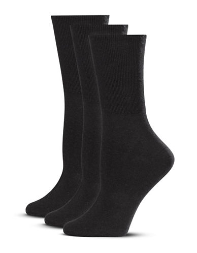 Jockey Three-Pack Turn Cuff Socks-BLACK-One Size