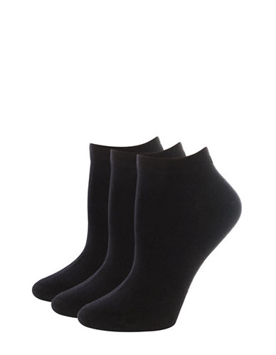 Jockey Three-Pair Elance Ankle Socks-BLACK-One Size