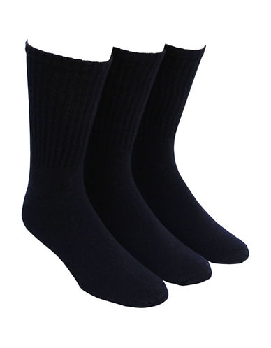 Jockey Mens 3 Pack Sport Rib XL Crew Socks-BLACK-13-16
