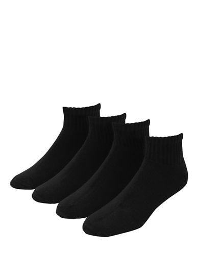 Jockey Mens Sport Quarter Socks Four Pack-BLACK-7-12