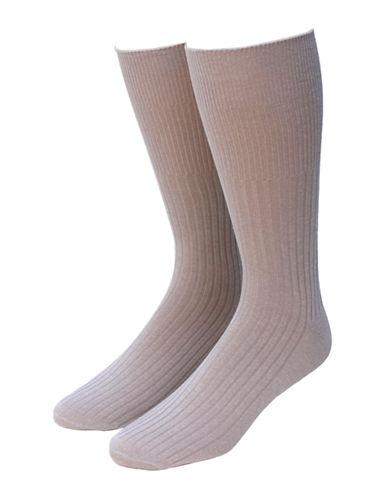 Jockey Mens Two-Pack Non-Elastic Ribbed Crew Socks-BEIGE-7-12