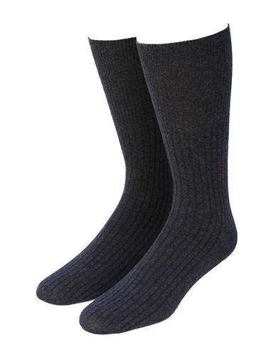 Jockey Mens Two-Pack Non-Elastic Ribbed Crew Socks-CHARCOAL-7-12