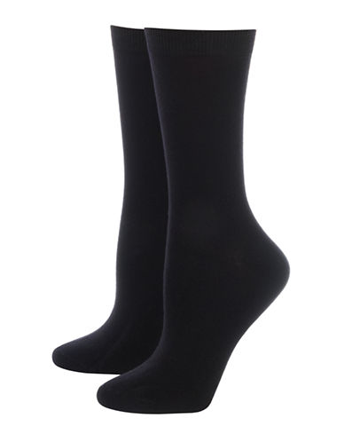 Jockey Two-Pair Smooth Toe Crew Socks-BLACK-9-11