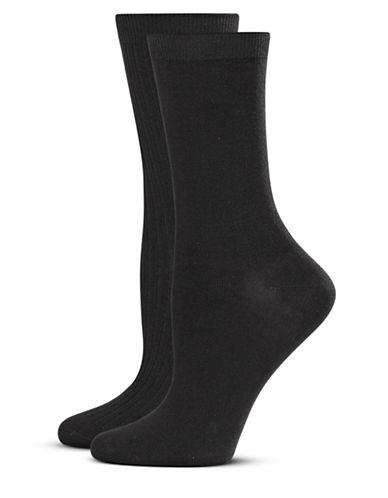 Jockey Two-Pack Crew Socks-BLACK-One Size