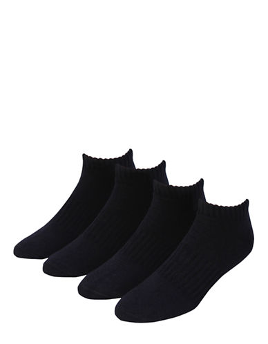 Jockey Mens Sport Low Cut Cushion Socks Four Pack-BLACK-7-12