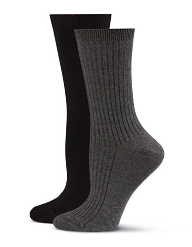 Jockey Two-Pack Crew Socks-BLACK/CHARCOAL-One Size