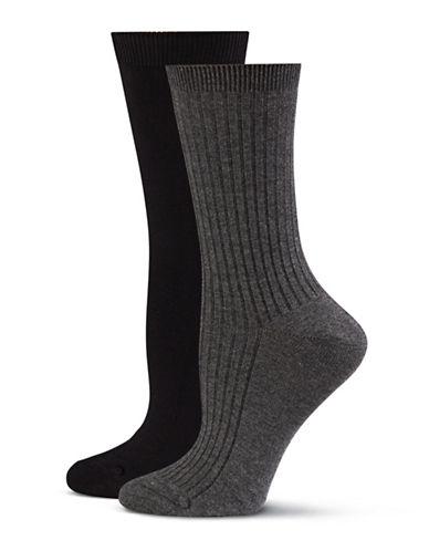 Jockey Two-Pack Crew Socks-BLACK/CHARCOAL-One Size