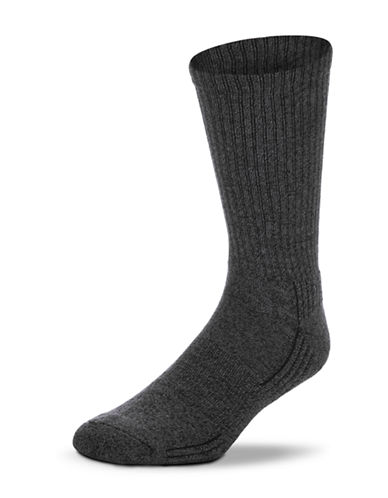 Jockey Mens Two-Pack Bamboo Cushioned Crew Socks-BLACK/GREY-7-12