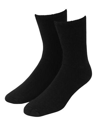 Jockey Mens Two-Pack Advantage Casual Non Binding Crew Socks-BLACK-7-12