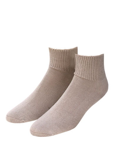 Jockey Mens Two-Pack Advantage Non Binding Dress Socks-BEIGE-7-12