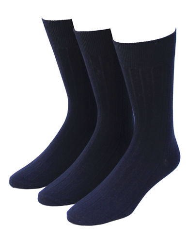 Jockey Mens Three-Pack Dress Rib Socks-NAVY-7-12