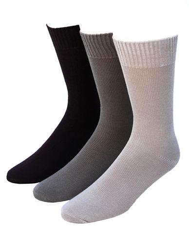 Jockey Mens Three-Pack Casual Flat Knit Crew Socks-BEIGE-7-12