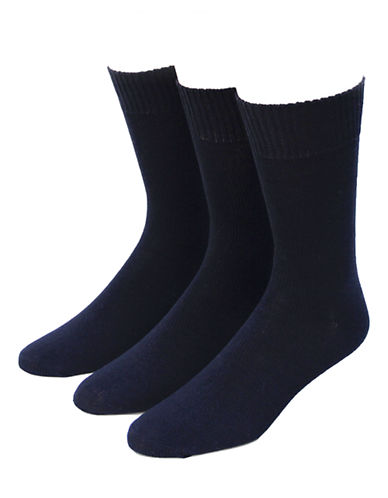 Jockey Mens Three-Pack Casual Flat Knit Crew Socks-BLACK-7-12