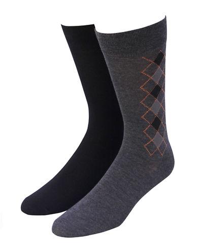 Jockey Mens Two-Pack Classic Crew Socks-BLACK/GREY-7-12