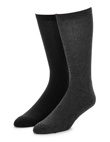 Jockey Mens Two-Pack Advantage Light Compression Socks-CHARCOAL / BLACK-7-12