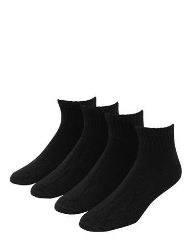 Jockey Mens Stay Cool Active Full Cushion Sport Quarter Socks Four Pack-BLACK-7-12