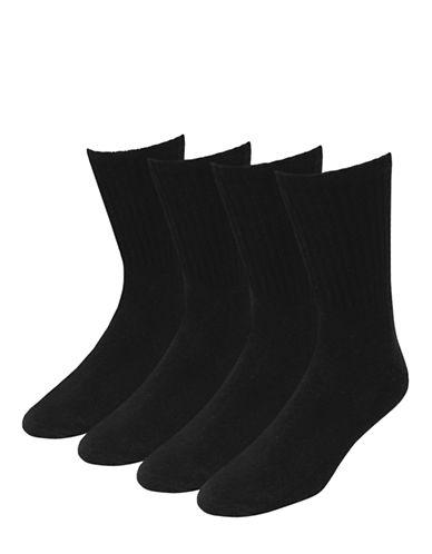 Jockey Mens Stay Cool Active Full Cushion Sport Crew Socks Four Pack-BLACK-7-12