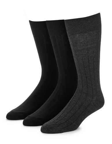 Jockey Mens Three-Pack Dress Rib Socks-BLACK/GREY-7-12