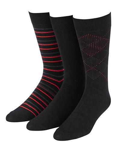 Jockey 3-Pack Dress Stripe Flat Argyle Crew Socks-BLACK-7-12