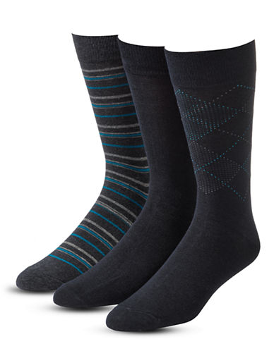 Jockey Mens Three-Pack Printed Crew Socks-BLACK-11.5-14