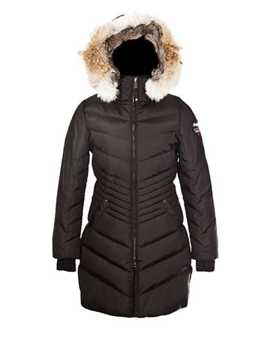 Pajar Brooklyn Rabbit and Coyote Trim Coat-JET BLACK-X-Small