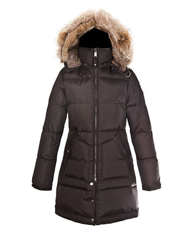 Pajar Cougar Rabbit and Coyote Trim Coat-JET BLACK-Large