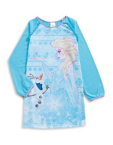 Jelli Fish Kids (Dd) Frozen Long Sleeve Night Gown-BLUE-6