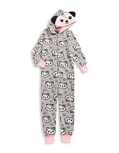Jelli Fish Kids (Dd) Microfleece Critter Footed Pyjama-GREY-14