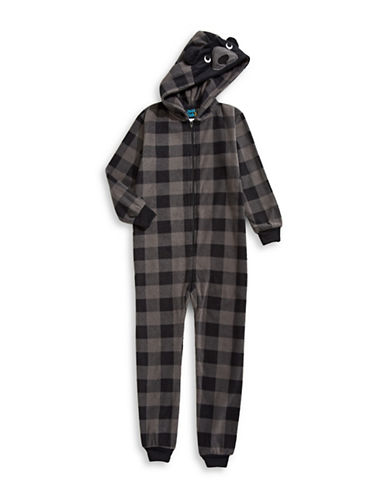 Jelli Fish Kids (Dd) Microfleece Bear Footed Pyjama-GREY-7-8