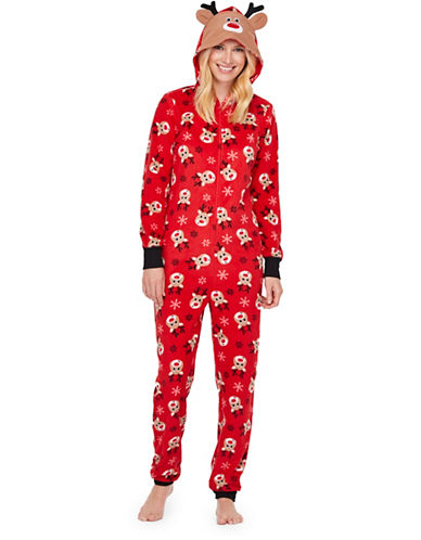Sleep Nation Womens Reindeer Graphic Fleece Coverall-RED-X-Large