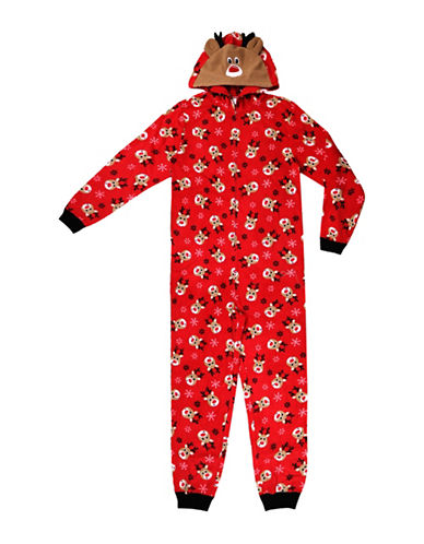 Sleep Nation Unisex Reindeer Graphic Fleece Coverall-RED-Small