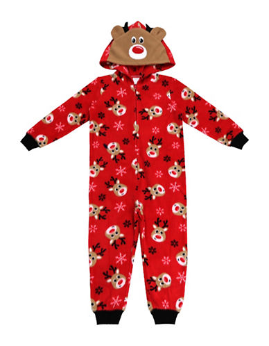 Sleep Nation Unisex Toddlers Reindeer Graphic Fleece Coverall-RED-2