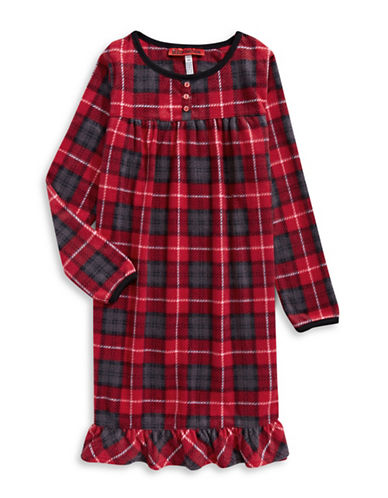 Sleep Nation Girls Plaid Fleece Sleep Dress-RED-Medium