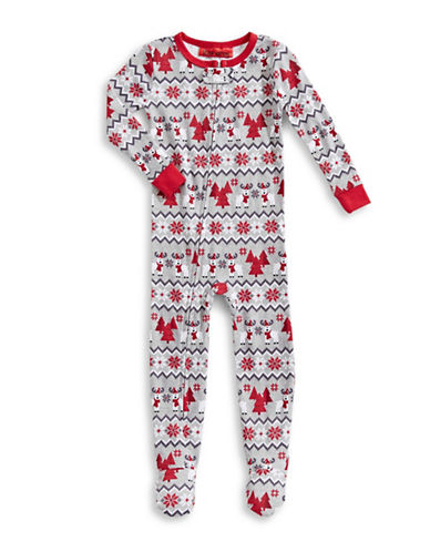 Sleep Nation Infants Fair Isle Holiday Footed Sleeper-WHITE-12 Months