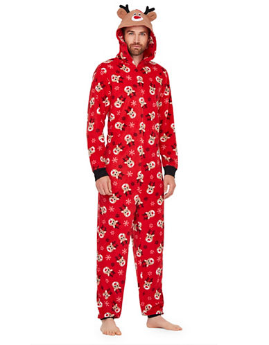 Sleep Nation Mens Reindeer Graphic Fleece Coverall-RED-Small