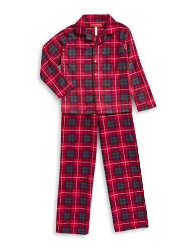 Sleep Nation Kids Unisex Two-Piece Plaid Fleece Pajama Set-RED-X-Small