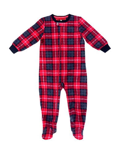 Sleep Nation Babys Plaid Fleece Footie-RED-24 Months