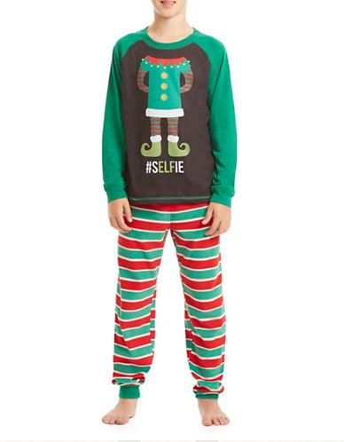 Sleep Nation Boys Two-Piece Elfie Selfie Fleece Pajama Set-RED-Small