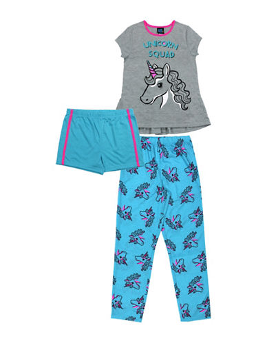 Jellifish Three-Piece Unicorn Sleep Set-GREY-10-12