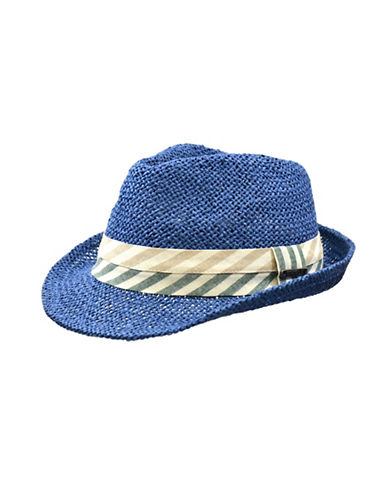 Nathaniel Cole Paper Fedora with Striped Two-tone Band-BLUE-Large/X-Large