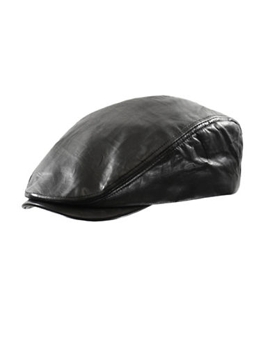 Nathaniel Cole Leather Ivy Cap-BLACK-Medium