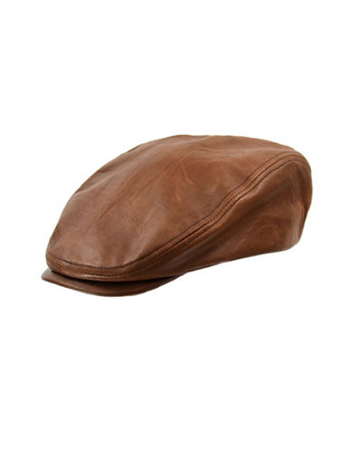 Nathaniel Cole Leather Ivy Cap-BROWN-Large