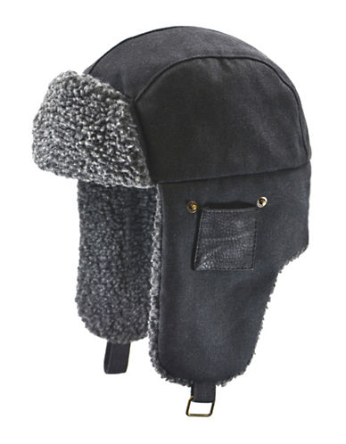 Black Brown 1826 Snowtop Cotton Canvas Aviator Hat-BLACK-Large/X-Large