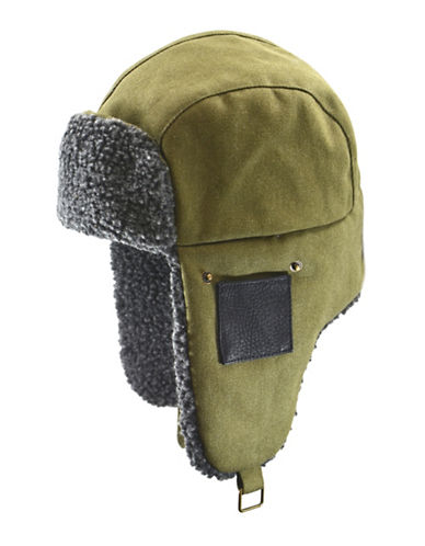 Black Brown 1826 Snowtop Cotton Canvas Aviator Hat-GREEN-Large/X-Large