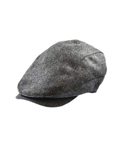 Black Brown 1826 Herringbone Newsboy Ivy Cap-GREY-X-Large
