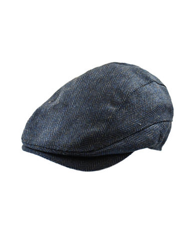 Black Brown 1826 Herringbone Newsboy Ivy Cap-BLUE-Medium